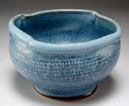 Unique blue ceramic bowl