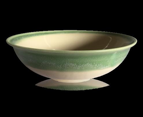Ceramic bowl with green edge