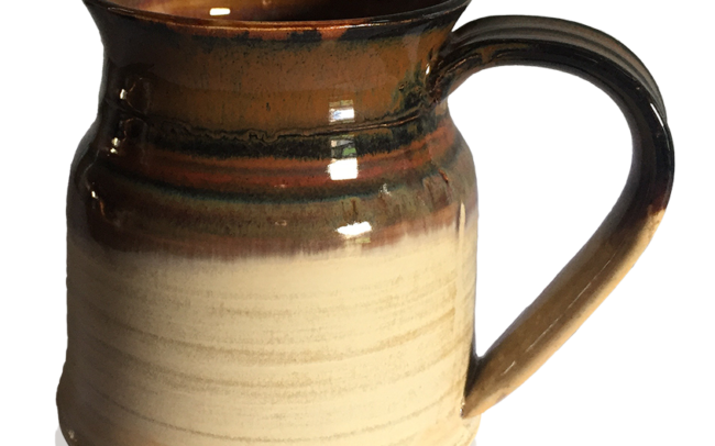 Ceramic mug in brown and cream
