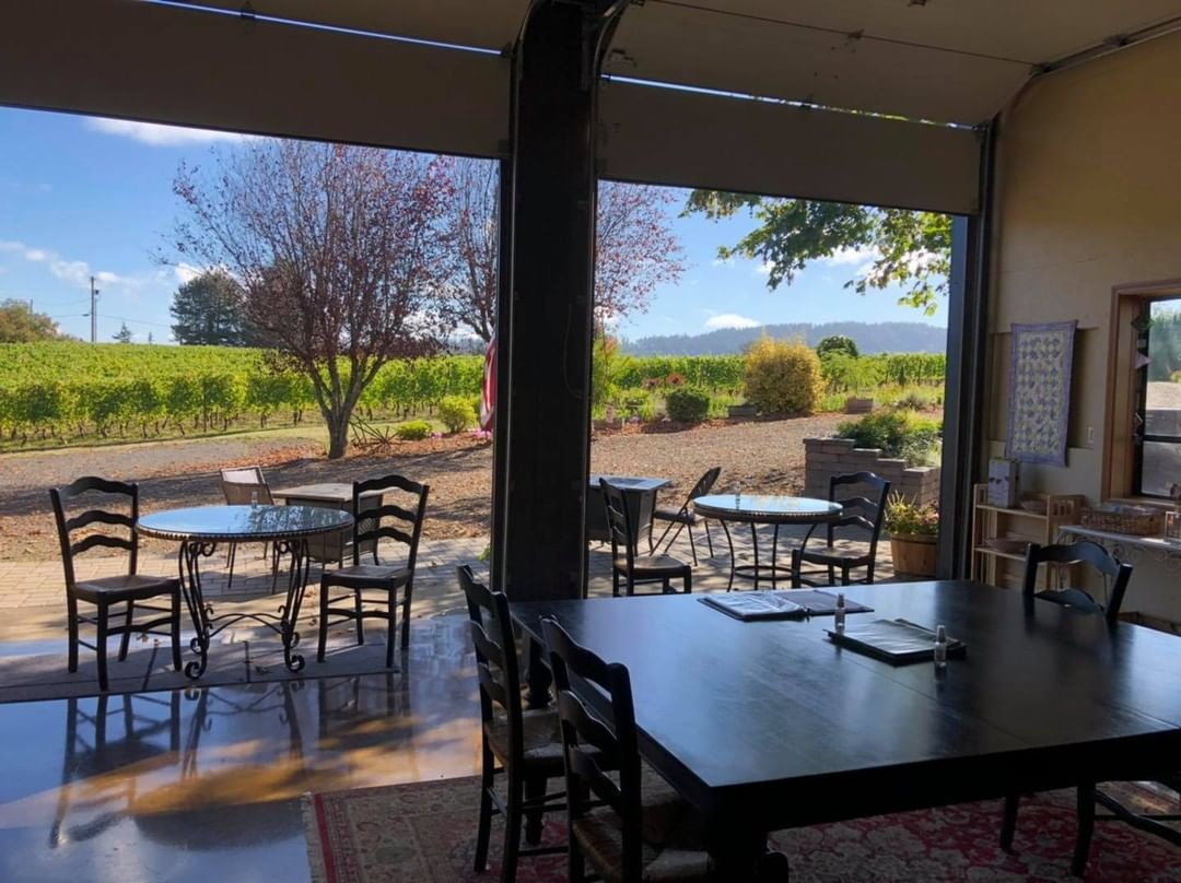 View of the patio from tasting room
