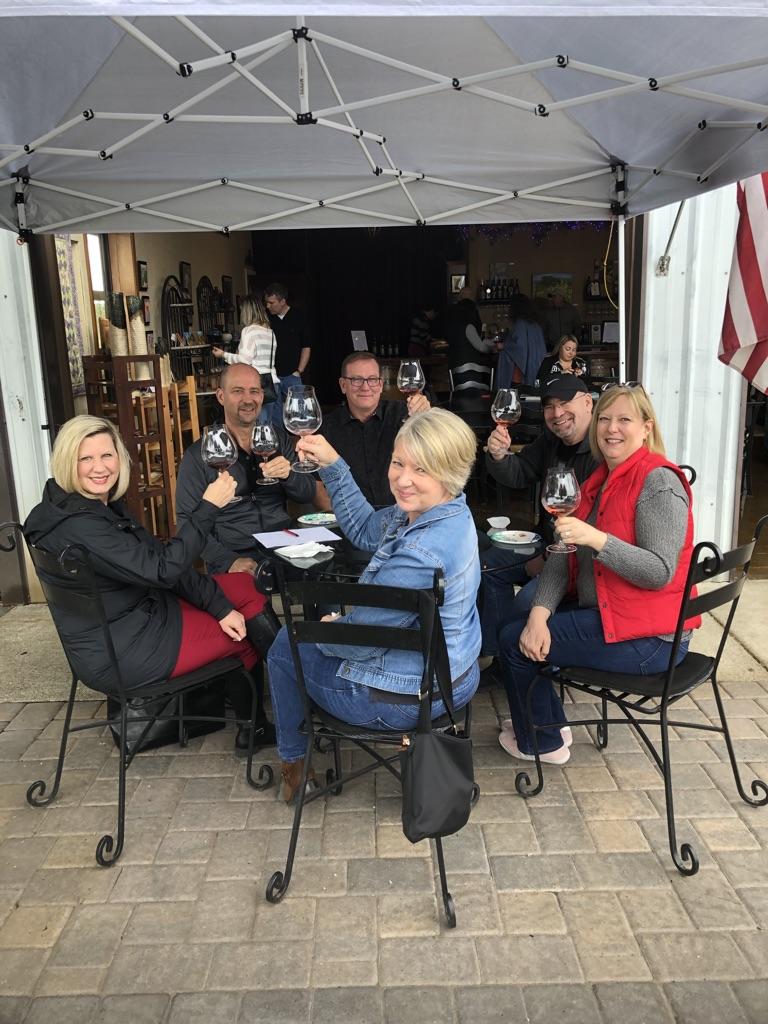 Guests enjoying tasting outdoors
