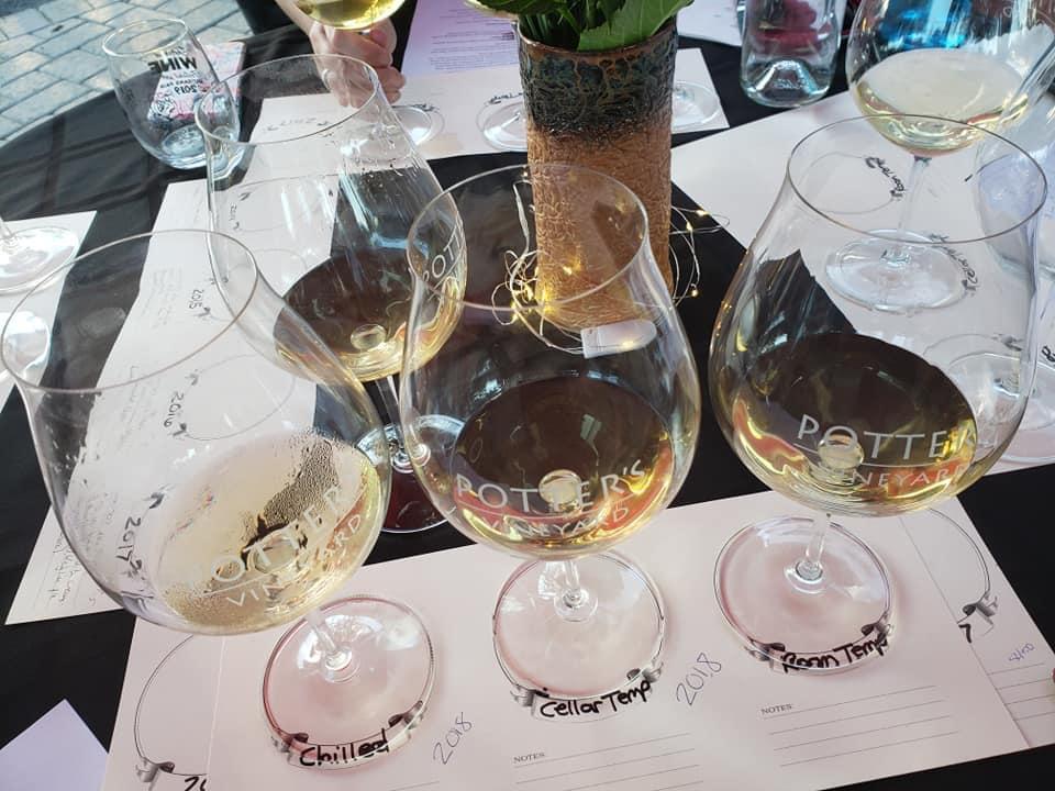 White wine in Potter's Vineyard glasses